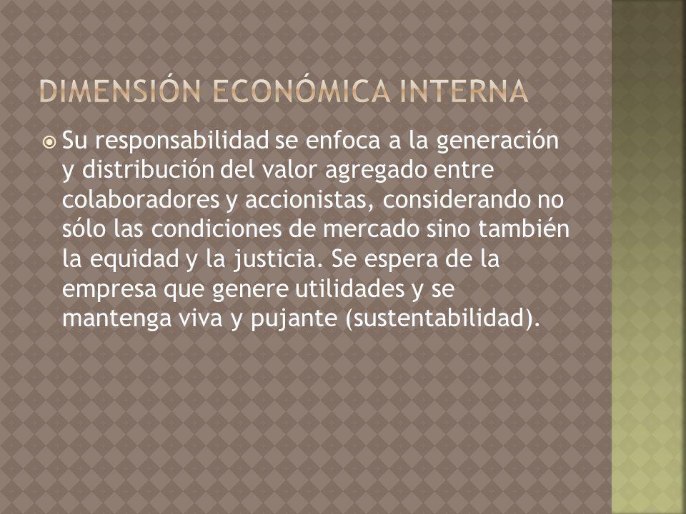 Su responsabilidad se enfoca a la generación y distribución del valor agregado entre colaboradores y accionistas, considerando no sólo las condiciones de mercado sino también la equidad y la justicia.