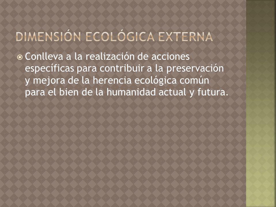 Conlleva a la realización de acciones específicas para contribuir a la preservación y mejora de la herencia ecológica común para el bien de la humanidad actual y futura.