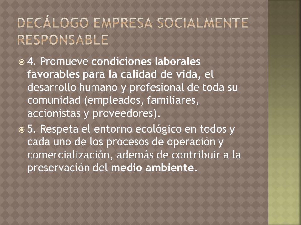 4. Promueve condiciones laborales favorables para la calidad de vida, el desarrollo humano y profesional de toda su comunidad (empleados, familiares,
