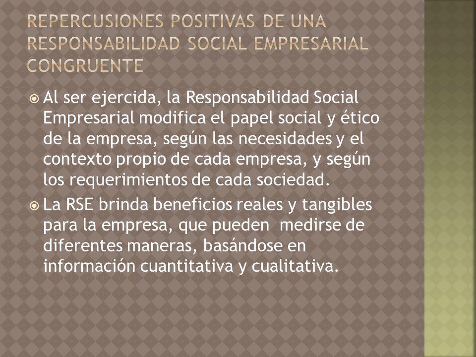 Al ser ejercida, la Responsabilidad Social Empresarial modifica el papel social y ético de la empresa, según las necesidades y el contexto propio de cada empresa, y según los requerimientos de cada sociedad.