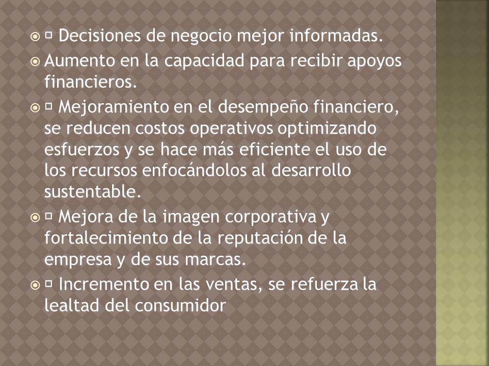 Decisiones de negocio mejor informadas.Aumento en la capacidad para recibir apoyos financieros.