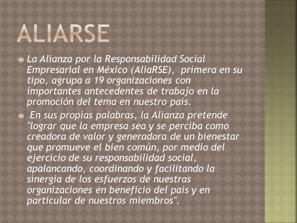 La Alianza por la Responsabilidad Social Empresarial en México (AliaRSE), primera en su tipo, agrupa a 19 organizaciones con importantes antecedentes de trabajo en la promoción del tema en nuestro país.