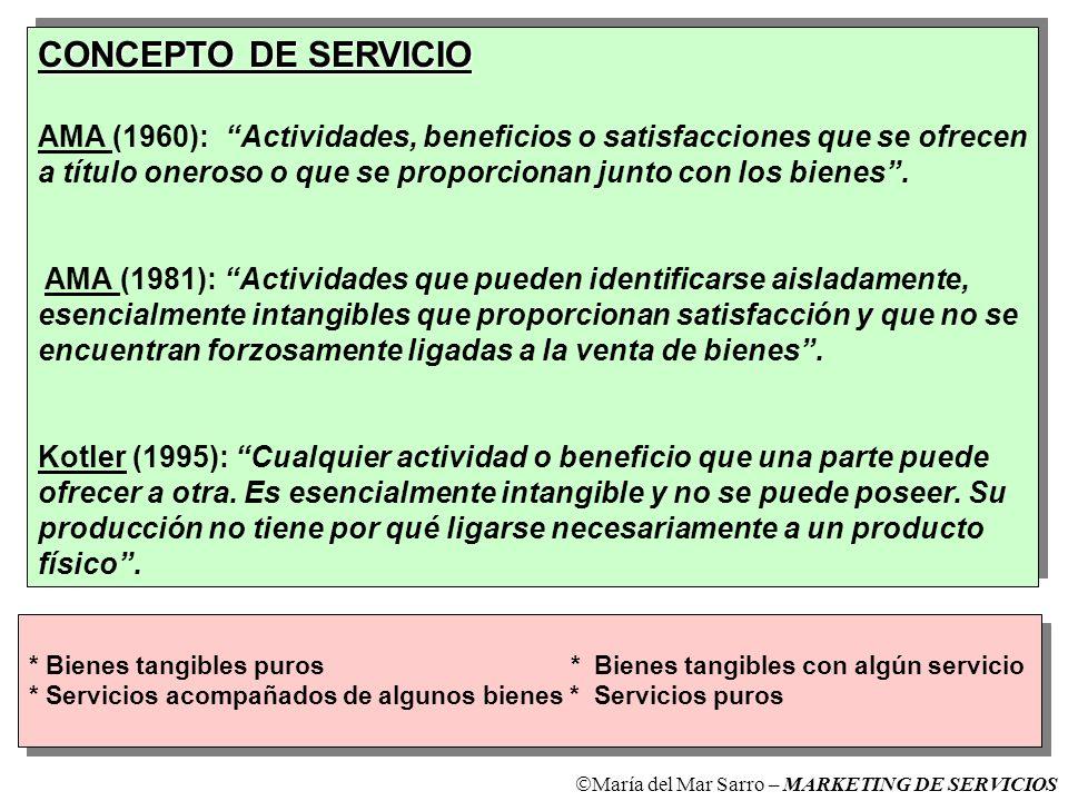 CONCEPTO DE SERVICIO AMA (1960): Actividades, beneficios o satisfacciones que se ofrecen a título oneroso o que se proporcionan junto con los bienes.