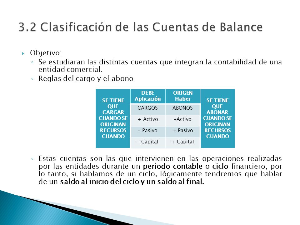 Objetivo: Se estudiaran las distintas cuentas que integran la contabilidad de una entidad comercial. Reglas del cargo y el abono Estas cuentas son las