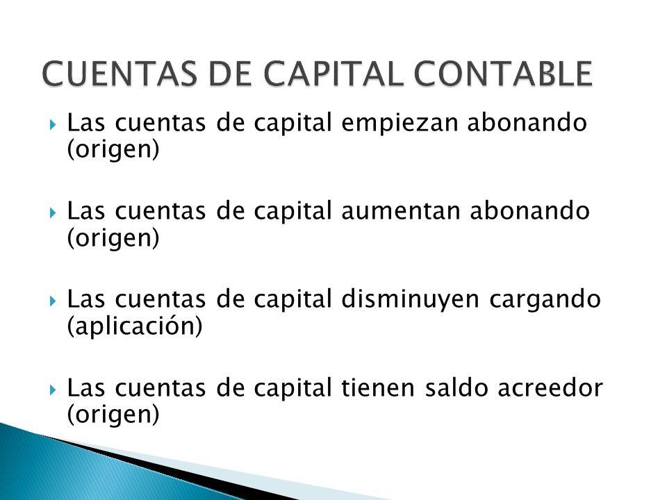 Las cuentas de capital empiezan abonando (origen) Las cuentas de capital aumentan abonando (origen) Las cuentas de capital disminuyen cargando (aplicación) Las cuentas de capital tienen saldo acreedor (origen)