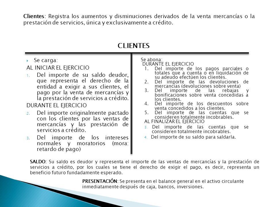 Se carga: AL INICIAR EL EJERCICIO 1. Del importe de su saldo deudor, que representa el derecho de la entidad a exigir a sus clientes, el pago por la v