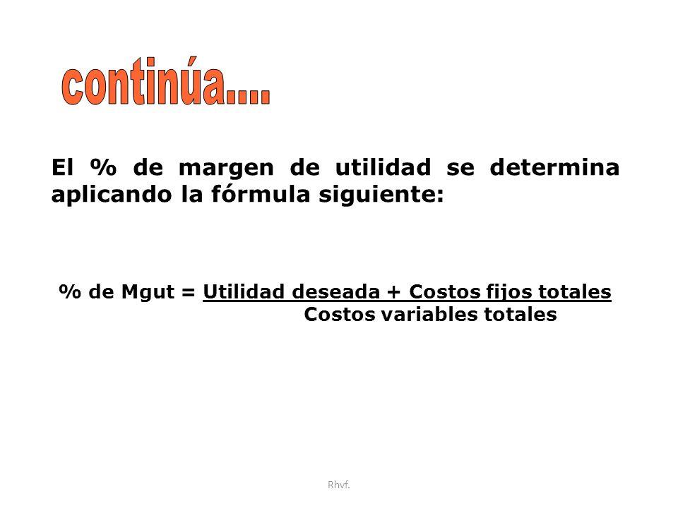 Rhvf. El % de margen de utilidad se determina aplicando la fórmula siguiente: % de Mgut = Utilidad deseada + Costos fijos totales Costos variables tot