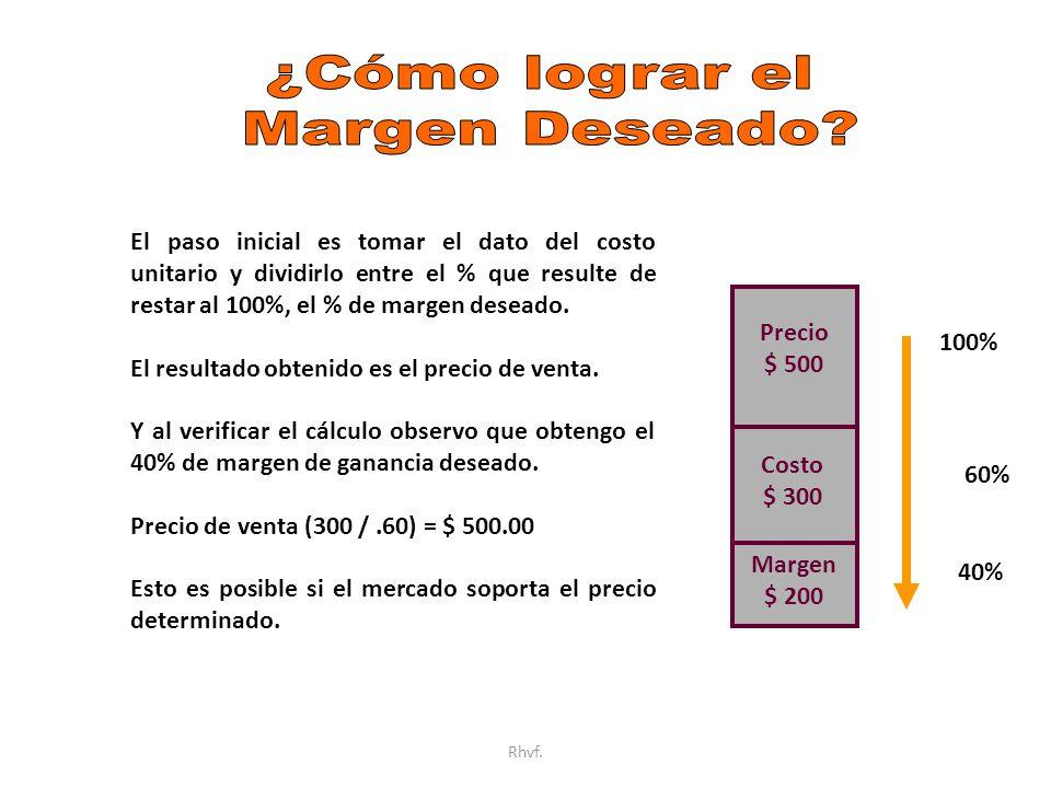 Rhvf. Costo $ 300 Precio $ 500 Margen $ 200 El paso inicial es tomar el dato del costo unitario y dividirlo entre el % que resulte de restar al 100%,