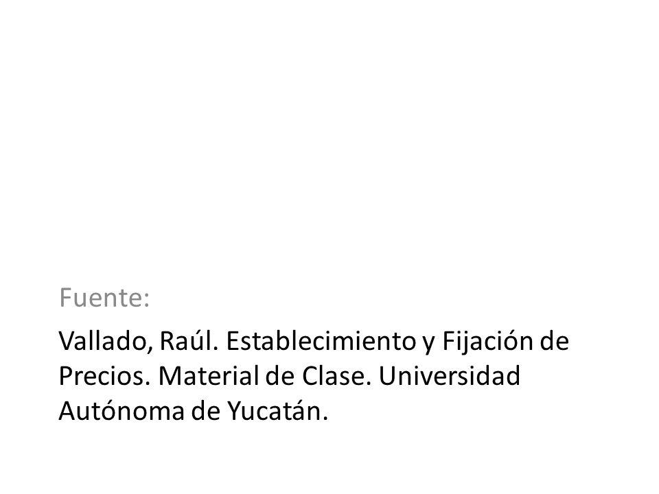 Fuente: Vallado, Raúl. Establecimiento y Fijación de Precios. Material de Clase. Universidad Autónoma de Yucatán.