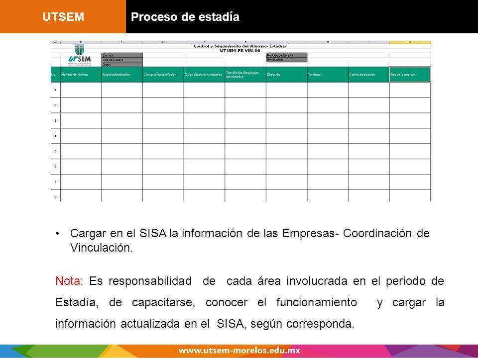 UTSEMProceso de estadía Cargar en el SISA la información de las Empresas- Coordinación de Vinculación. Nota: Es responsabilidad de cada área involucra
