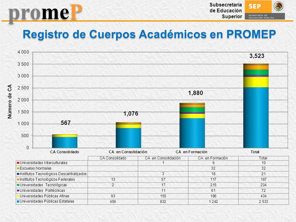 Subsecretaría de Educación Superior promeP Registro de Cuerpos Académicos en PROMEP