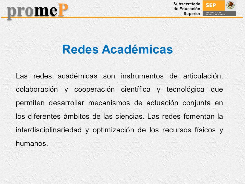 Subsecretaría de Educación Superior promeP Las redes académicas son instrumentos de articulación, colaboración y cooperación científica y tecnológica