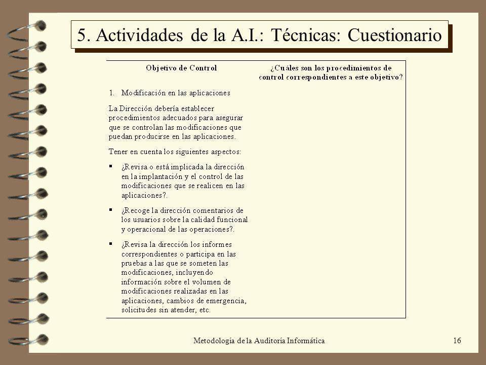 Metodología de la Auditoría Informática16 5. Actividades de la A.I.: Técnicas: Cuestionario