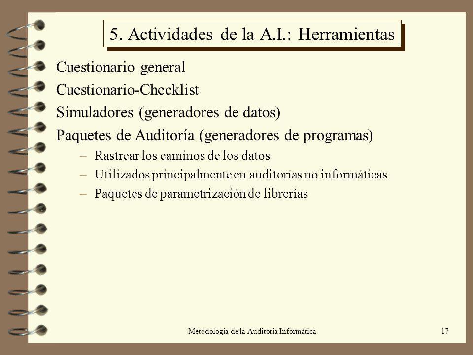 Metodología de la Auditoría Informática17 5. Actividades de la A.I.: Herramientas Cuestionario general Cuestionario-Checklist Simuladores (generadores
