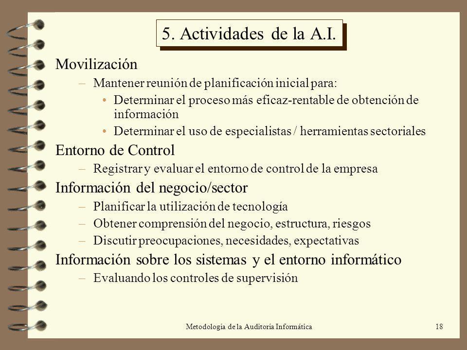Metodología de la Auditoría Informática18 5. Actividades de la A.I. Movilización –Mantener reunión de planificación inicial para: Determinar el proces