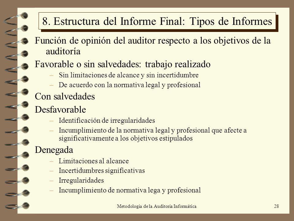 Metodología de la Auditoría Informática28 8. Estructura del Informe Final: Tipos de Informes Función de opinión del auditor respecto a los objetivos d