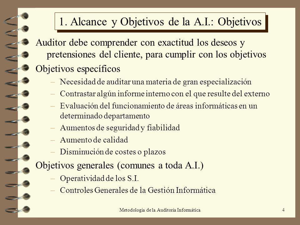 Metodología de la Auditoría Informática4 1. Alcance y Objetivos de la A.I.: Objetivos Auditor debe comprender con exactitud los deseos y pretensiones