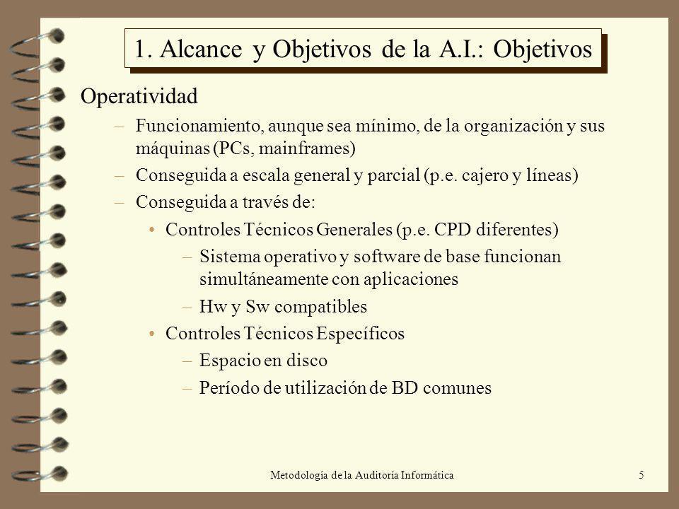 Metodología de la Auditoría Informática5 1. Alcance y Objetivos de la A.I.: Objetivos Operatividad –Funcionamiento, aunque sea mínimo, de la organizac