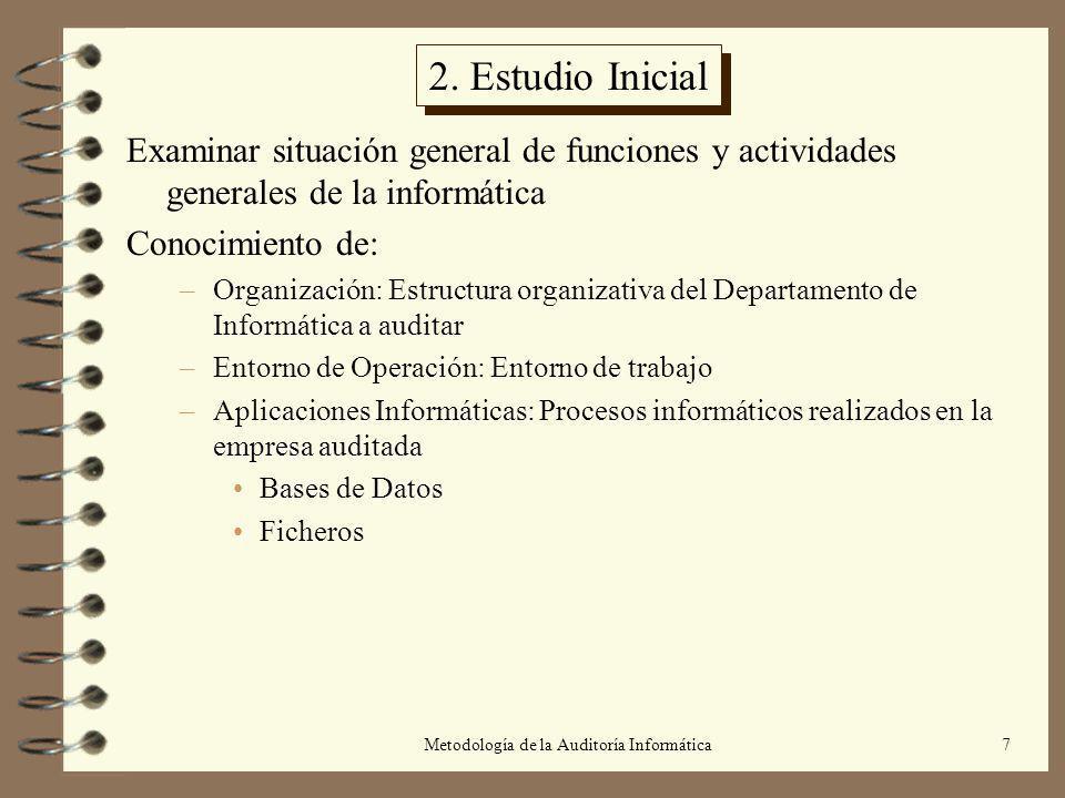 Metodología de la Auditoría Informática7 2. Estudio Inicial Examinar situación general de funciones y actividades generales de la informática Conocimi