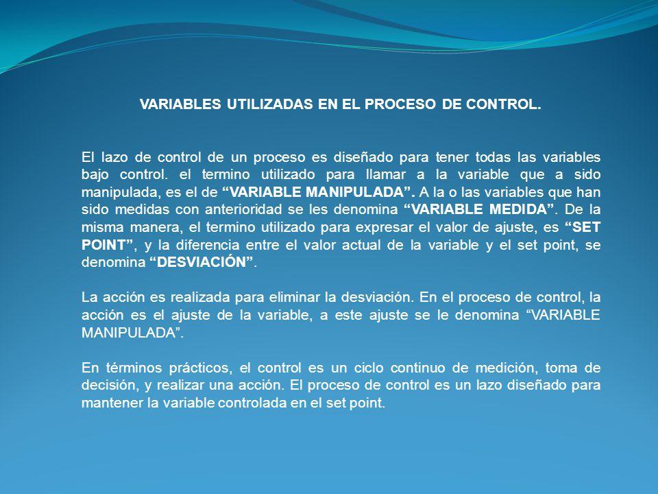 VARIABLES UTILIZADAS EN EL PROCESO DE CONTROL. El lazo de control de un proceso es diseñado para tener todas las variables bajo control. el termino ut