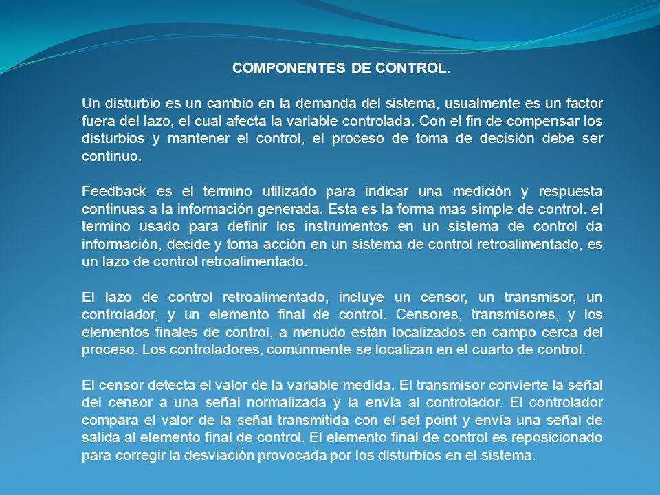 COMPONENTES DE CONTROL. Un disturbio es un cambio en la demanda del sistema, usualmente es un factor fuera del lazo, el cual afecta la variable contro