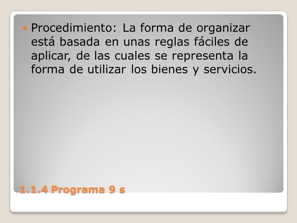 1.1.4 Programa 9 s Procedimiento: La forma de organizar está basada en unas reglas fáciles de aplicar, de las cuales se representa la forma de utiliza