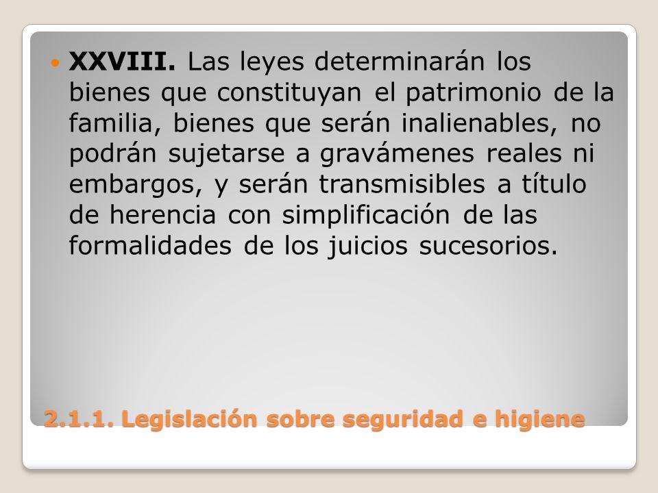 2.1.1. Legislación sobre seguridad e higiene XXVIII. Las leyes determinarán los bienes que constituyan el patrimonio de la familia, bienes que serán i