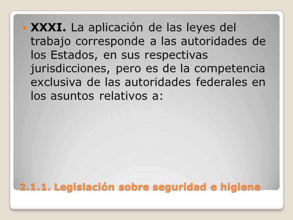2.1.1. Legislación sobre seguridad e higiene XXXI. La aplicación de las leyes del trabajo corresponde a las autoridades de los Estados, en sus respect