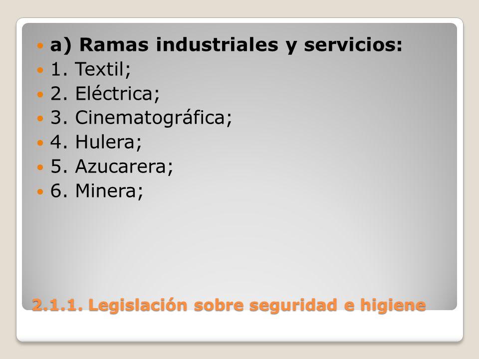 2.1.1. Legislación sobre seguridad e higiene a) Ramas industriales y servicios: 1. Textil; 2. Eléctrica; 3. Cinematográfica; 4. Hulera; 5. Azucarera;