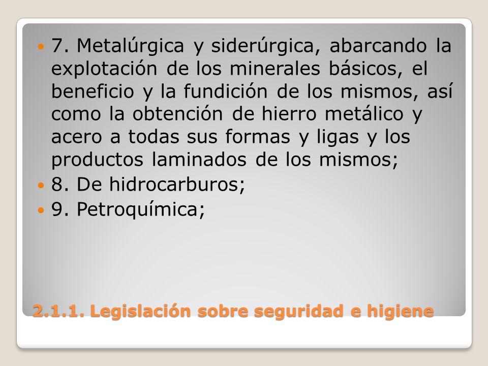 2.1.1. Legislación sobre seguridad e higiene 7. Metalúrgica y siderúrgica, abarcando la explotación de los minerales básicos, el beneficio y la fundic