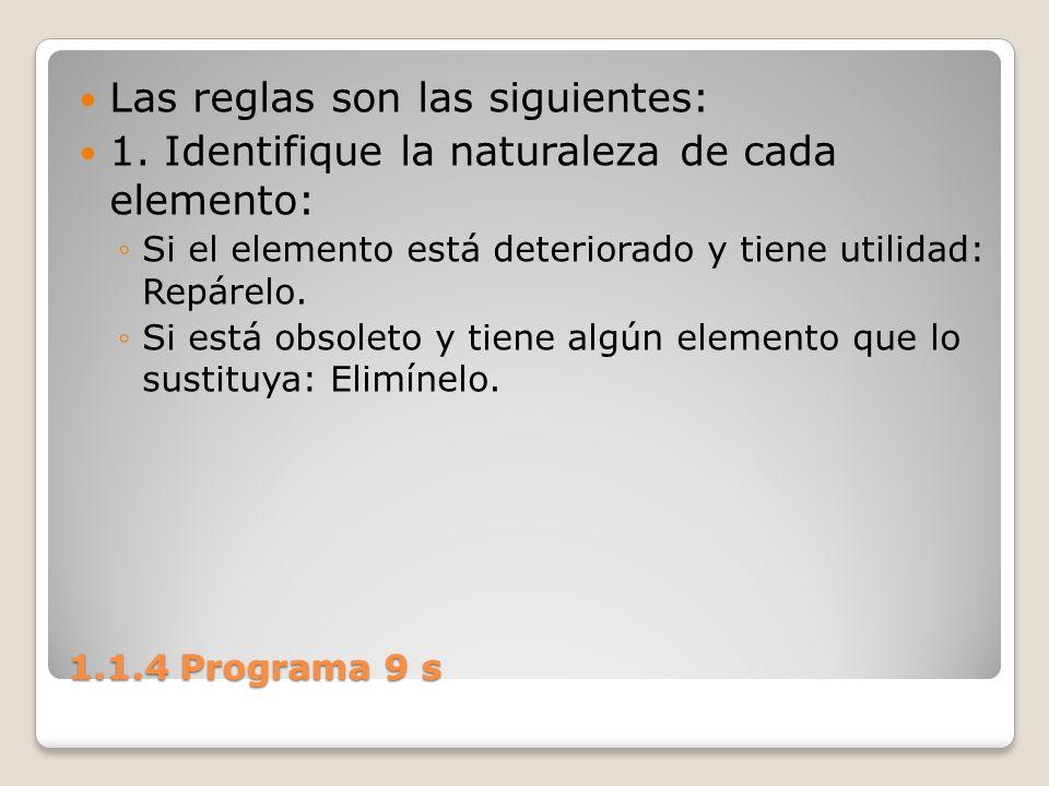 1.1.4 Programa 9 s Las reglas son las siguientes: 1. Identifique la naturaleza de cada elemento: Si el elemento está deteriorado y tiene utilidad: Rep
