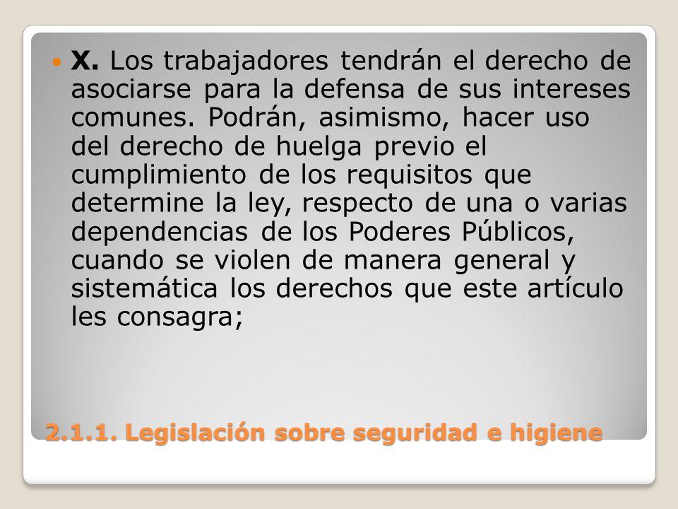 2.1.1. Legislación sobre seguridad e higiene X. Los trabajadores tendrán el derecho de asociarse para la defensa de sus intereses comunes. Podrán, asi