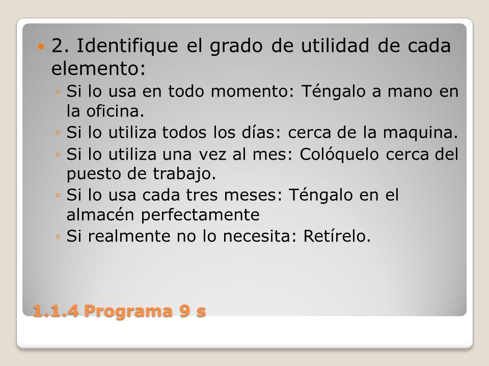 1.1.4 Programa 9 s 2. Identifique el grado de utilidad de cada elemento: Si lo usa en todo momento: Téngalo a mano en la oficina. Si lo utiliza todos