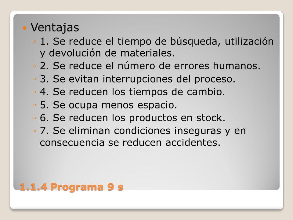 1.1.4 Programa 9 s Ventajas 1. Se reduce el tiempo de búsqueda, utilización y devolución de materiales. 2. Se reduce el número de errores humanos. 3.