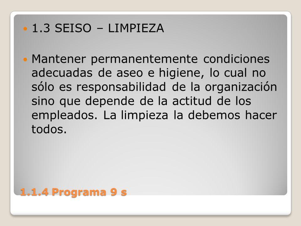 1.1.4 Programa 9 s 1.3 SEISO – LIMPIEZA Mantener permanentemente condiciones adecuadas de aseo e higiene, lo cual no sólo es responsabilidad de la org