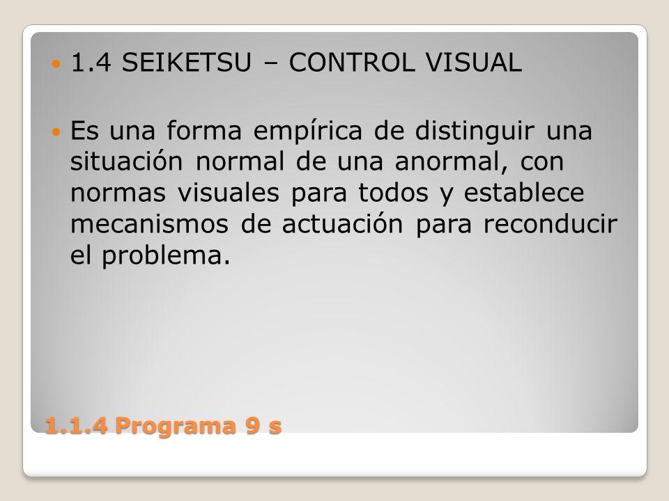 1.1.4 Programa 9 s 1.4 SEIKETSU – CONTROL VISUAL Es una forma empírica de distinguir una situación normal de una anormal, con normas visuales para tod