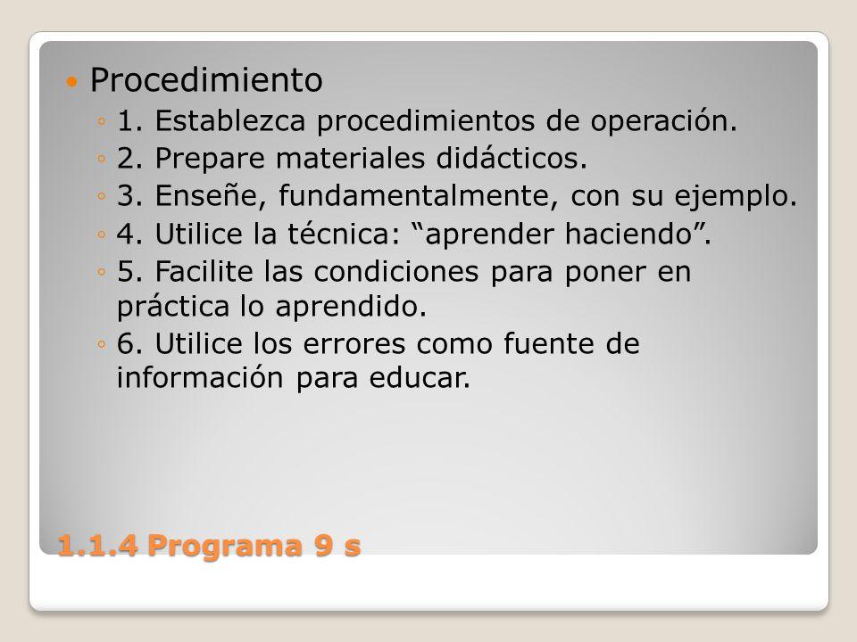 1.1.4 Programa 9 s Procedimiento 1. Establezca procedimientos de operación. 2. Prepare materiales didácticos. 3. Enseñe, fundamentalmente, con su ejem