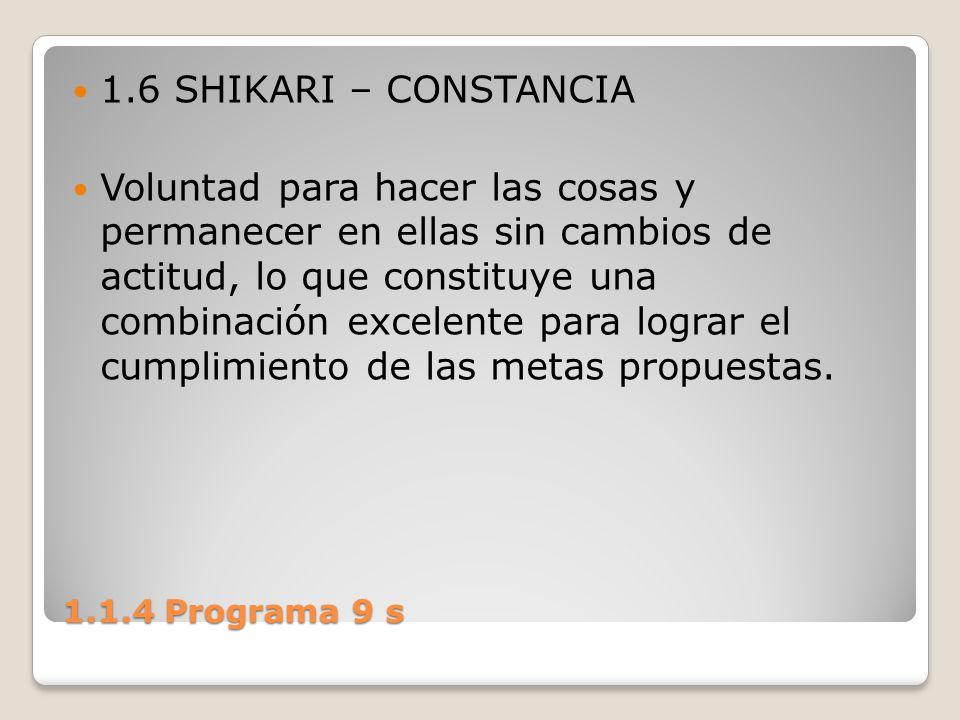 1.1.4 Programa 9 s 1.6 SHIKARI – CONSTANCIA Voluntad para hacer las cosas y permanecer en ellas sin cambios de actitud, lo que constituye una combinac