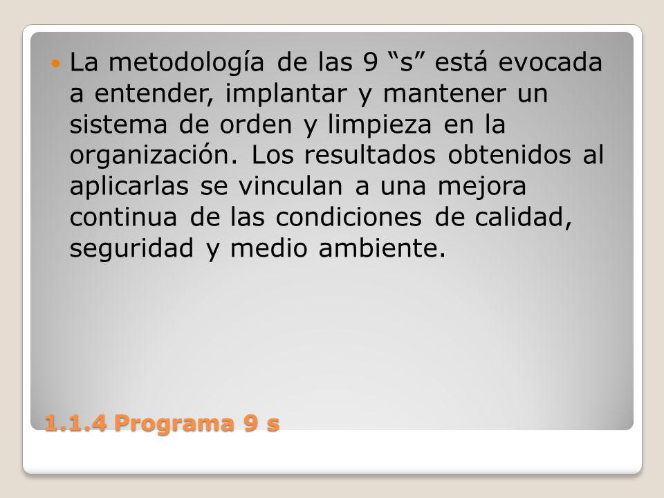 1.1.4 Programa 9 s La metodología de las 9 s está evocada a entender, implantar y mantener un sistema de orden y limpieza en la organización. Los resu