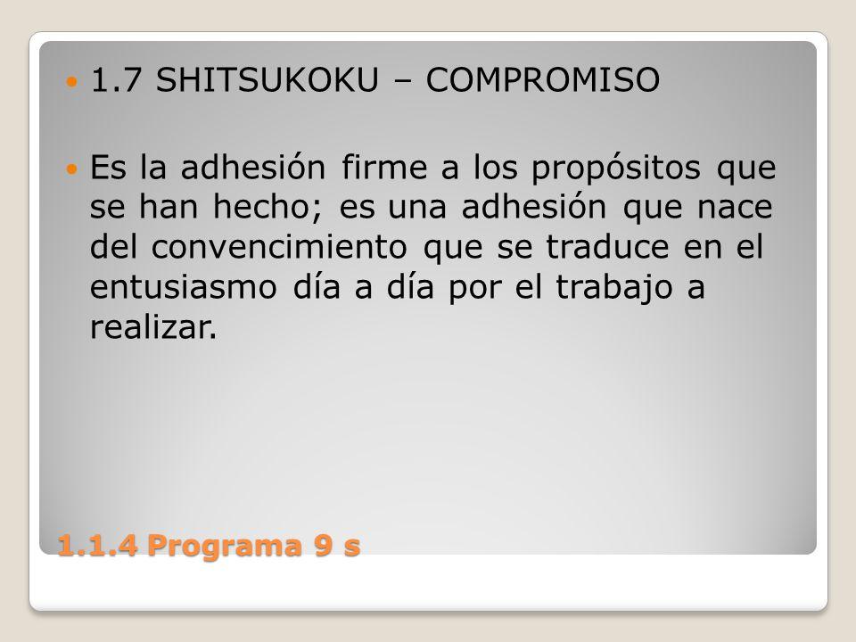 1.1.4 Programa 9 s 1.7 SHITSUKOKU – COMPROMISO Es la adhesión firme a los propósitos que se han hecho; es una adhesión que nace del convencimiento que
