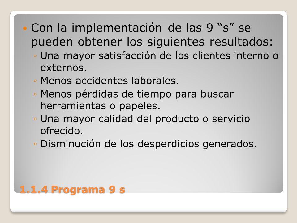 1.1.4 Programa 9 s Con la implementación de las 9 s se pueden obtener los siguientes resultados: Una mayor satisfacción de los clientes interno o exte