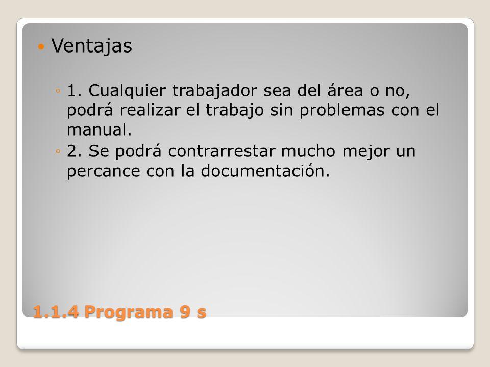 1.1.4 Programa 9 s Ventajas 1. Cualquier trabajador sea del área o no, podrá realizar el trabajo sin problemas con el manual. 2. Se podrá contrarresta