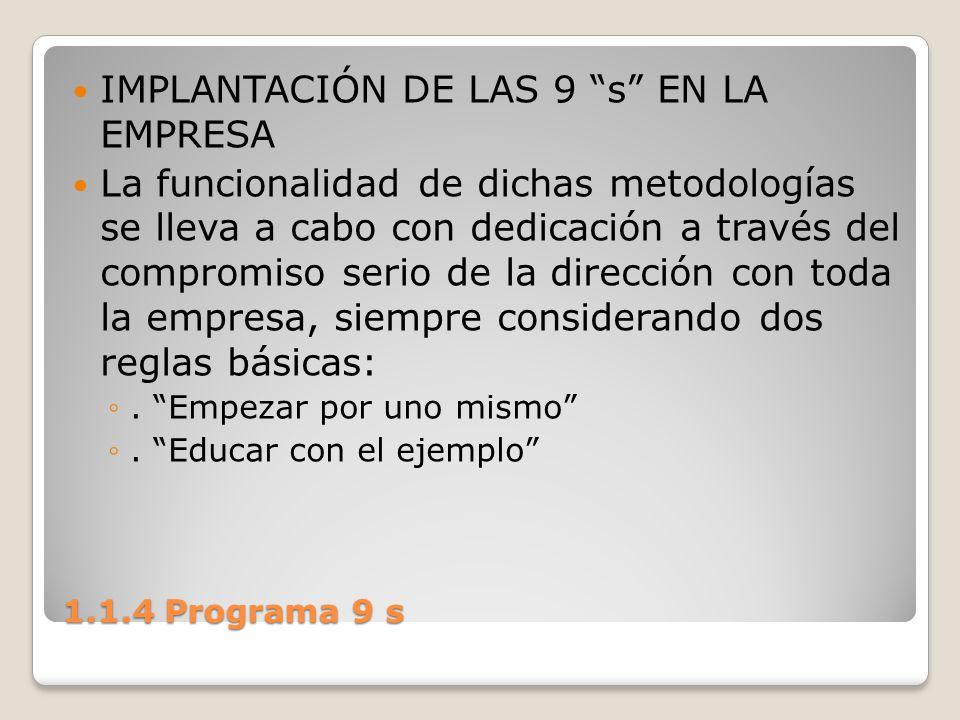 1.1.4 Programa 9 s IMPLANTACIÓN DE LAS 9 s EN LA EMPRESA La funcionalidad de dichas metodologías se lleva a cabo con dedicación a través del compromis