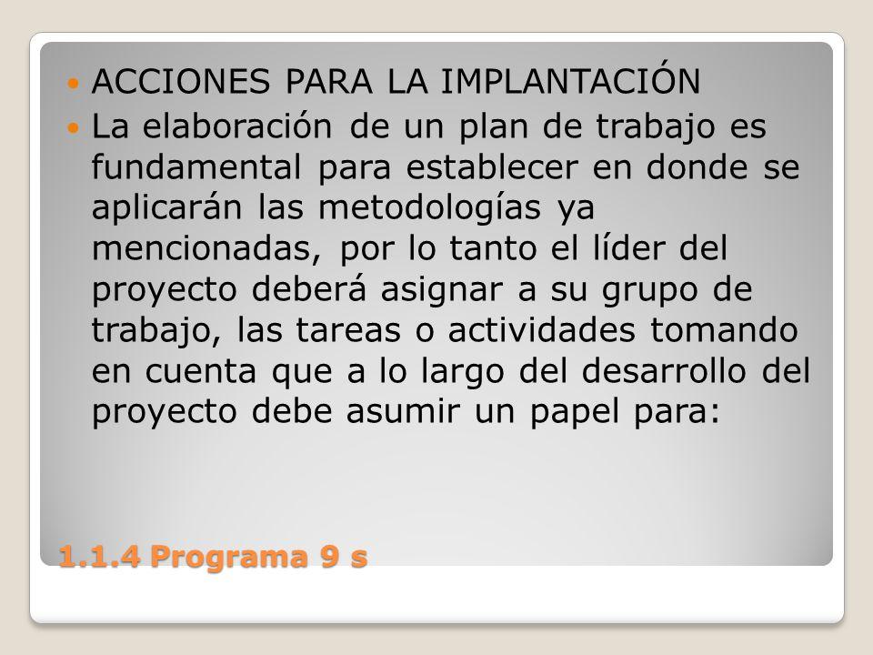 1.1.4 Programa 9 s ACCIONES PARA LA IMPLANTACIÓN La elaboración de un plan de trabajo es fundamental para establecer en donde se aplicarán las metodol