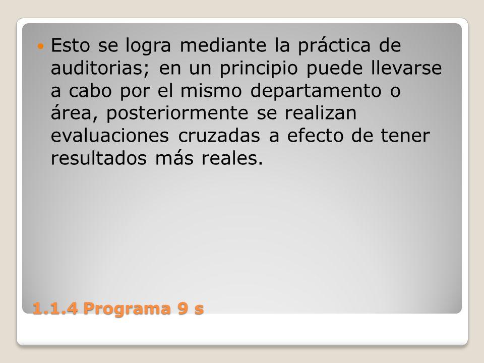 1.1.4 Programa 9 s Esto se logra mediante la práctica de auditorias; en un principio puede llevarse a cabo por el mismo departamento o área, posterior