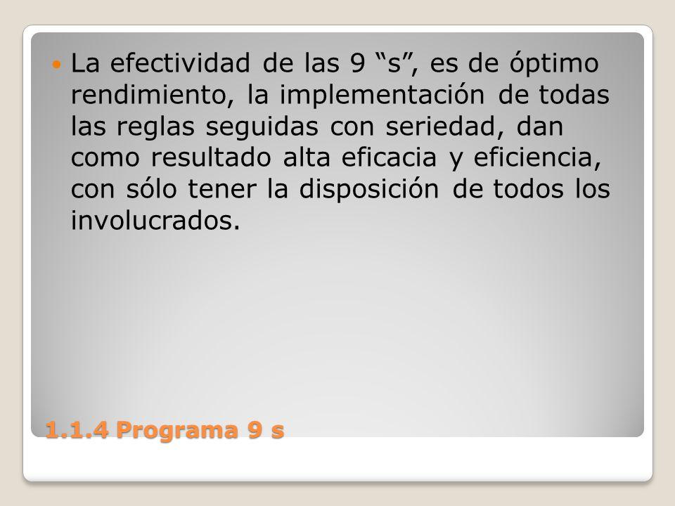 1.1.4 Programa 9 s La efectividad de las 9 s, es de óptimo rendimiento, la implementación de todas las reglas seguidas con seriedad, dan como resultad