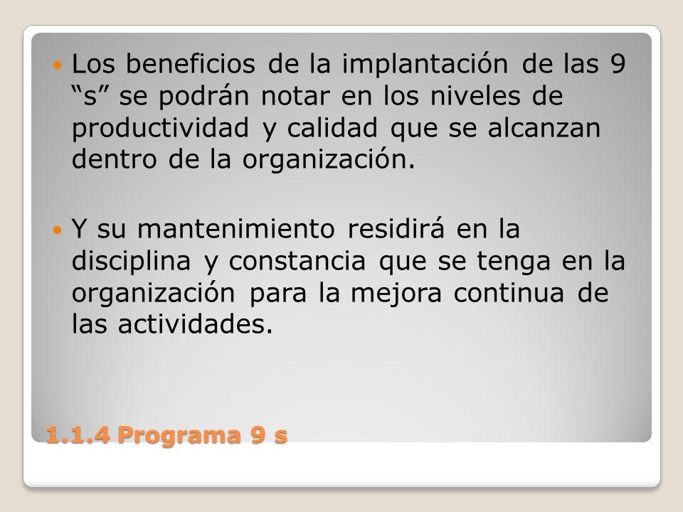 1.1.4 Programa 9 s Los beneficios de la implantación de las 9 s se podrán notar en los niveles de productividad y calidad que se alcanzan dentro de la
