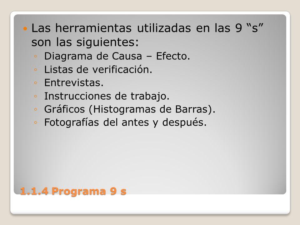 1.1.4 Programa 9 s Las herramientas utilizadas en las 9 s son las siguientes: Diagrama de Causa – Efecto. Listas de verificación. Entrevistas. Instruc