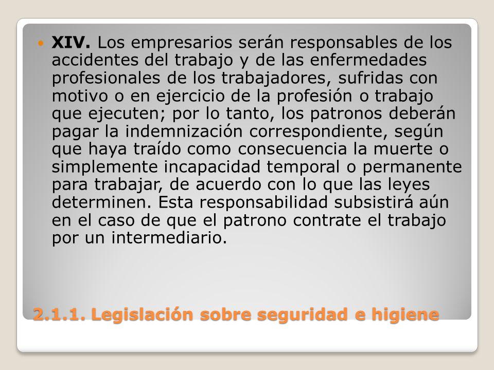 2.1.1. Legislación sobre seguridad e higiene XIV. Los empresarios serán responsables de los accidentes del trabajo y de las enfermedades profesionales