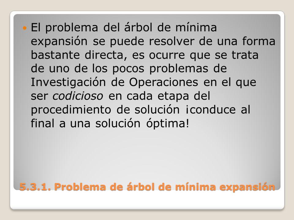 5.3.1. Problema de árbol de mínima expansión El problema del árbol de mínima expansión se puede resolver de una forma bastante directa, es ocurre que